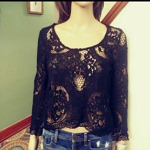 Mija & Gala black lace blouse Sz-6